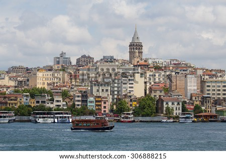 ISTANBUL, TURKEY - JULY 11, 2015 : Beyoglu district historic architecture and Galata tower medieval landmark over the Golden Horn in Istanbul, Turkey
