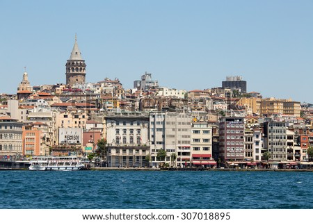 ISTANBUL, TURKEY - JULY 21, 2015 : Beyoglu district historic architecture and Galata tower medieval landmark over the Golden Horn in Istanbul, Turkey