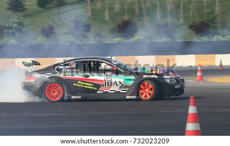 ISTANBUL, TURKEY - JULY 29, 2017: Fahim Reza Keykhosravi drives BMW Engine S85 Turbo Charge in Apex Masters Turkish Drift Series Istanbul Race.