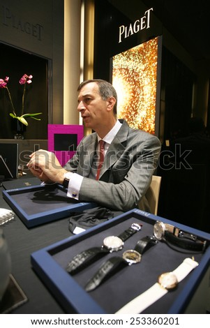 ISTANBUL, TURKEY - JULY 14: Famous French businessman and Piaget CEO Philippe Leopold Metzger portrait on July 14, 2008 in Istanbul, Turkey.  - stock photo