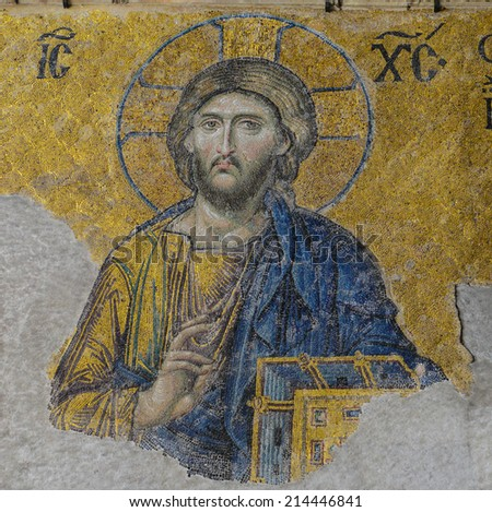 ISTANBUL, TURKEY - JULY 09: Jesus Christ, a Byzantine mosaic in the interior of Hagia Sophia, on July 09, 2014 in Istanbul. - stock photo