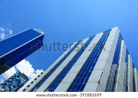 ISTANBUL, TURKEY - JULY 17: Levent district is a rapidly-developing business and finance area of Istanbul with highrises and shopping malls. Taken on July 17, 2013 - stock photo