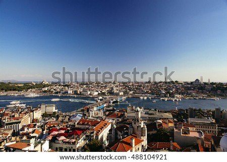 ISTANBUL, TURKEY - JULY 16: Panoramic view of Bosphorus from Galata Tower on July 16, 2013 in Istanbul, Turkey. Tourists visit Galata tower for this great panoramic view of Istanbul.