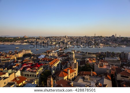 ISTANBUL, TURKEY - JULY 16: Panoramic view of Bosphorus from Galata Tower  Tourists visit it  for this great panoramic view of Istanbul.