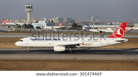 ISTANBUL, TURKEY - JULY 09, 2015: Turkish Airlines Airbus A321-231 (CN 3429) takes off from Istanbul Ataturk Airport. THY is the flag carrier of Turkey with 284 fleet size and 275 destinations - stock photo