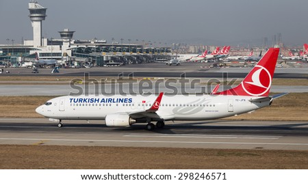 ISTANBUL, TURKEY - JULY 09, 2015: Turkish Airlines Boeing 737-8F2 (CN 29776/308) takes off from Istanbul Ataturk Airport. THY is the flag carrier of Turkey with 284 fleet size and 275 destinations - stock photo