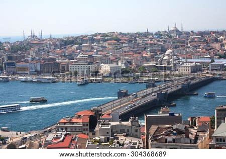 Istanbul, Turkey - July 8, 2015: View of famous Galata Bridge across Golden Horn bay on background with old city panorama - stock photo