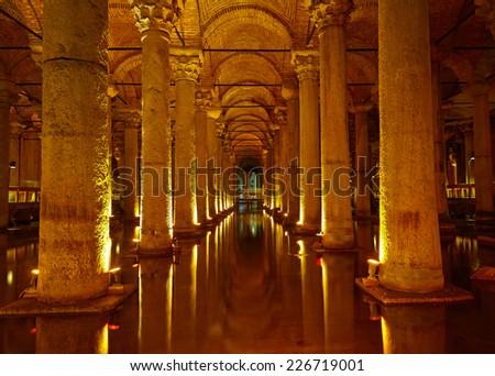 ISTANBUL, TURKEY - JULY 16, 2014: Yerebatan Saray - Basilica Cistern in Istanbul, Turkey. Yerebatan Saray is one of favorite tourist attraction in Istanbul. - stock photo