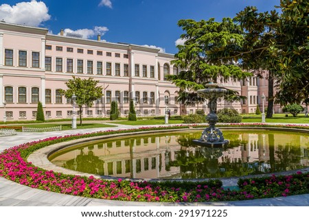ISTANBUL, TURKEY - JUN 22, 2014: A scenic view of the park of the palace of the Ottoman sultans Dolmabahce