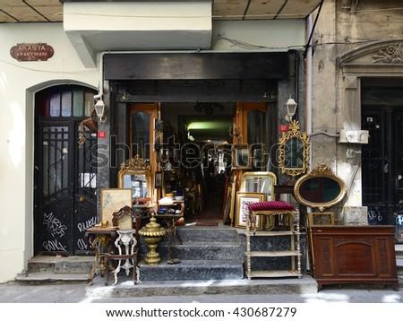 ISTANBUL, TURKEY - JUNE 02, 2016:Cukurcuma in istanbul.Cukurcuma of Beyoglu quarter is the city's oldest antiques district on JUNE 02, 2016 in Istanbul, Turkey - stock photo