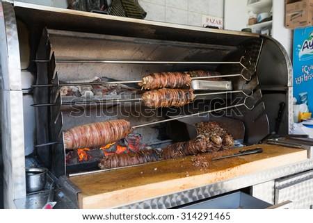 ISTANBUL, TURKEY - JUNE 20: Delicious turkish doner kebab on June 20, 2015 in Istanbul, Turkey - stock photo