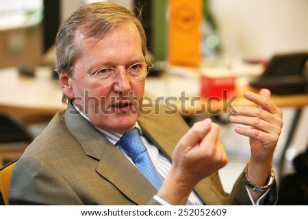 ISTANBUL, TURKEY - JUNE 5: Famous German businessman Christoph Franz portrait on June 5, 2009 in Istanbul, Turkey. He was Chief Executive Officer of Lufthansa until 1 May 2014. - stock photo