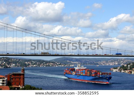 ISTANBUL TURKEY - JUNE 6, 2011 : Large cargo container ship passing through Bosporus, Istanbul.