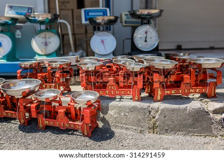 ISTANBUL, TURKEY - JUNE 20: Old red scales on June 20, 2015 in Istanbul, Turkey - stock photo