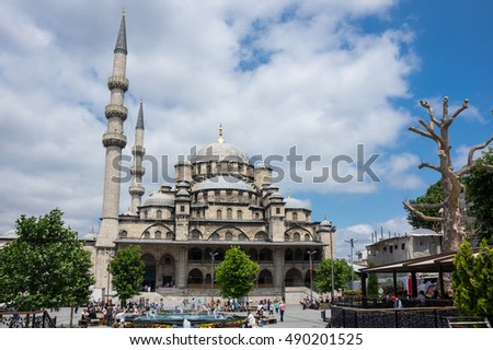 ISTANBUL, TURKEY - JUNE 25, 2015: The Yeni Cami ( New Mosque) is an Ottoman imperial mosque located in the Eminonu quarter of Istanbul, Turkey