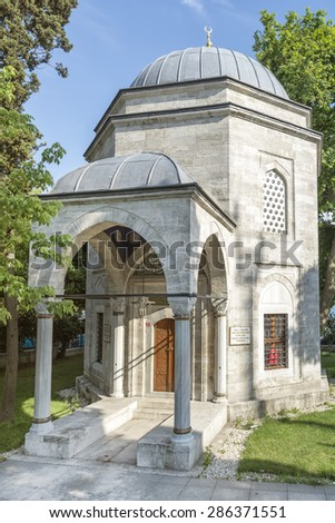 ISTANBUL, TURKEY, JUNE 11, 2015: Tomb of Barbaros Hayrettin Pasha, famous Ottoman naval fleet admiral. Also known as Barbarossa in Europe. Tomb is situated at Besiktas town centre, Istanbul.
