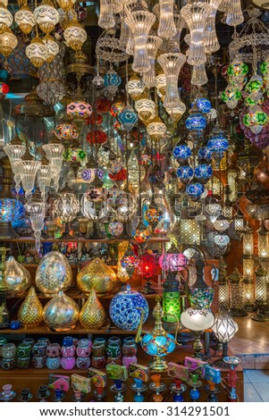 ISTANBUL, TURKEY - JUNE 22: Traditional lamps at Grand Bazaar on June 22, 2015 in Istanbul, Turkey - stock photo