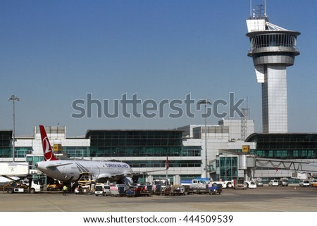 ISTANBUL, TURKEY - June 01, 2015: Turkisk Airlines , Airbus A320 waiting for boarding at Turkey's largest airport, Istanbul Ataturk, Turkey. - stock photo