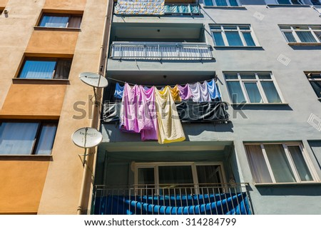 ISTANBUL, TURKEY - JUNE 21: Typical city buildings on June 21, 2015 in Istanbul, Turkey - stock photo