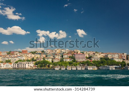 ISTANBUL, TURKEY - JUNE 20: View from the ferry on June 20, 2015 in Istanbul, Turkey - stock photo