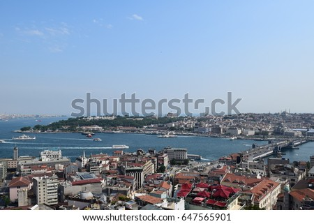 "Istanbul, Turkey. June ""2015"" - View of ""Sultanahmet"" from ""Galata Tower"""
