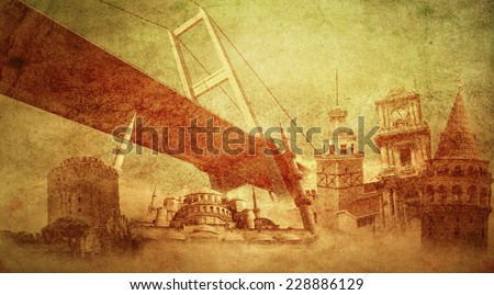 Istanbul Turkey , Maiden tower, Galata tower, Blue mosque - stock photo