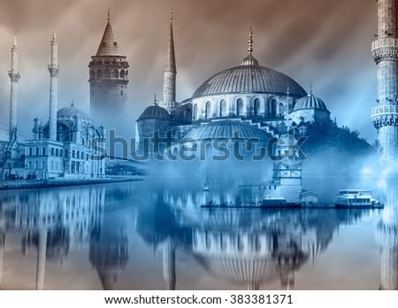 Istanbul Turkey , Maiden tower, Galata tower, Blue mosque, ortakoy mosque - stock photo