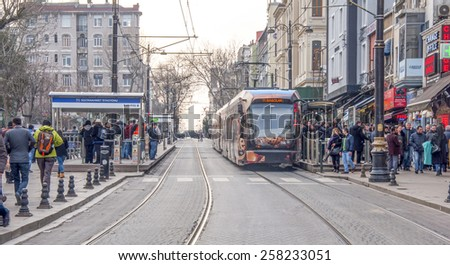 ISTANBUL, TURKEY - MARCH 1, 2015: A modern tram on Sultanahmet Station. Istanbul, Turkey. Istanbul is a modern city with a developed infrastructure.