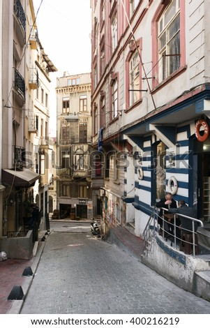 ISTANBUL, TURKEY - MARCH 30, 2016:Cukurcuma in istanbul.Cukurcuma of Beyoglu quarter is the city's oldest antiques district on MARCH 30, 2016 in Istanbul, Turkey  - stock photo