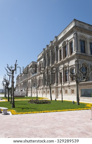 Istanbul, Turkey - March 3, 2015: Exterior view from Ciragan Palace, an old Ottoman Empire Royal palace located by the Bosporus, Besiktas, European side of Istanbul on March 3, 2015.