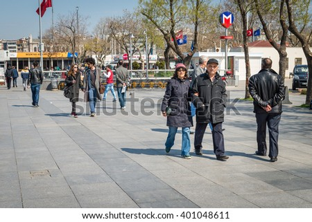 Istanbul, Turkey - March 29, 2016: People are walking on the Kadikoy square near port in Istanbul, Turkey