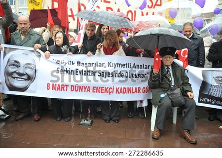 ISTANBUL, TURKEY - MARCH  8 :  Relatives of  the detainees protest  justice system on March  8, 2014 in Istanbul, Turkey