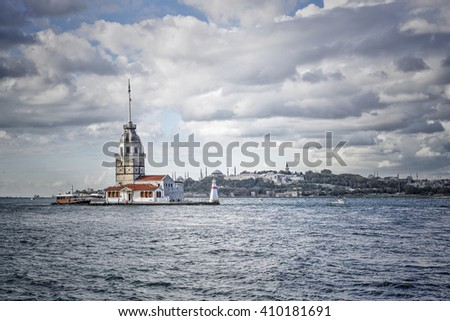 ISTANBUL, TURKEY - MARCH 2016; The Maiden's Tower in Istanbul, Turkey. - stock photo