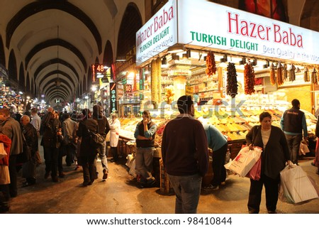 ISTANBUL,TURKEY - MARCH 21: Tourists visiting Egyptian Bazaar (Spice Bazaar) on March 21, 2012 in Istanbul, Turkey. Located in Emin�¶n�¼ is the second largest covered shopping complex after Grand Bazaar