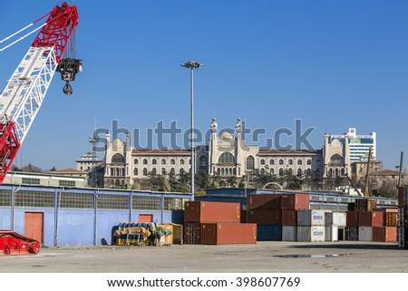 Istanbul, Turkey - March 30, 2016: View from Kadikoy commercial dock located at the Kadikoy coast, Asian side of Istanbul, Turkey on March 30, 2016.