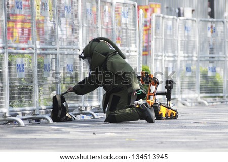 ISTANBUL, TURKEY - MAY 01: A suspicious bag found on a street in Istanbul was detonated by bomb experts on May 01, 2010 in Istanbul, Turkey. - stock photo