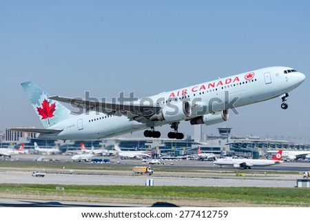 ISTANBUL , TURKEY - May 9 , 2015: Aircraft of Canada Airlines is taking off from Istanbul Ataturk International Airport on May 9, 2015 . Aircraft is an Boing 737-800
