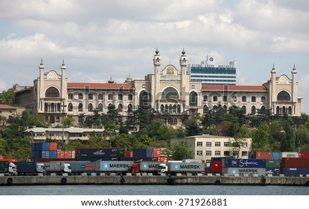 ISTANBUL, TURKEY - MAY 8: Container Port at Haydarpasa on May 8, 2008 in Istanbul, Turkey. - stock photo