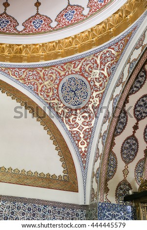 ISTANBUL, TURKEY - MAY 25, 2016: Details in a room in Topkapi Palace where was one of the major residences of the Ottoman sultans for almost 400 years