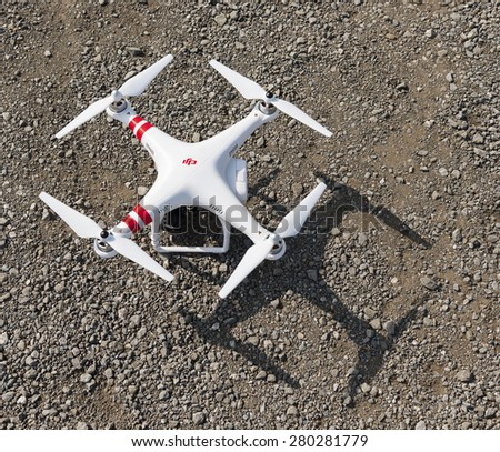ISTANBUL, TURKEY - MAY 19,2015:Drone quadrocopter Dji Phantom 2. New tool for aerial photo and video.