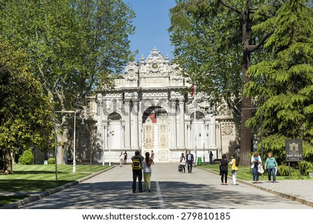 ISTANBUL,TURKEY, MAY 14,2015: Entrance gate of the Dolmabahce Palace, located in the Besiktas district of Istanbul, Turkey, on the European coastline of the Bosphorus. - stock photo
