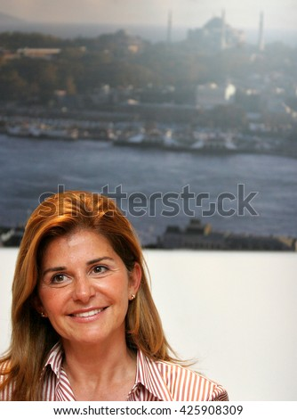 ISTANBUL, TURKEY - MAY 18: Famous Turkish curator and Istanbul Modern Art Museum chairman Oya Eczacibasi portrait on May 18, 2009 in Istanbul, Turkey. Oya Eczacibasi is the wife of Bulent Eczacibasi. - stock photo