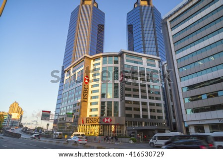 Istanbul, Turkey - May 6, 2016: Gayrettepe Zicirlikuyu district in European side of Istanbul. The area is a business center with towers and interchange stations of transportation.Taken on May 6, 2016.
