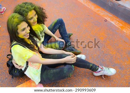 ISTANBUL, TURKEY - MAY 17, 2015: Girls have fun in colors during Color Up Run, Istanbul