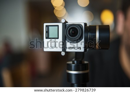 ISTANBUL, TURKEY - MAY 19 ,2015: Gopro action camera. Shot of GoPro Hero 4 Black.It is a compact, lightweight personal camera manufactured by GoPro Inc. - stock photo