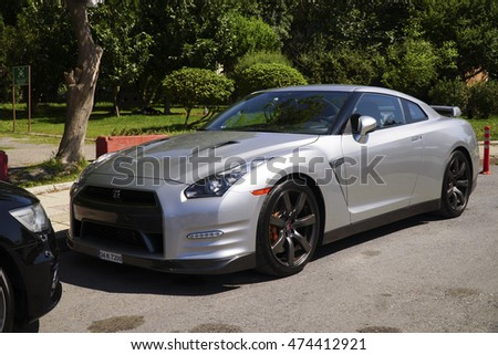 Istanbul, Turkey - May 29, 2016: Grey Nissan GT-R Premium R35 is parked in a street.