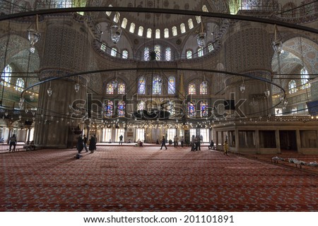 ISTANBUL, TURKEY - MAY 25 2014:  Interior details of the impressive   Eminonu Mosque (New Mosque)  visited by way over 100 000 tourists on 25h of May 2014 in ISTANBUL, TURKEY  - stock photo