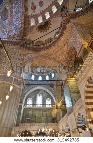 ISTANBUL, TURKEY - MAY 16, 2015: Internal view of Blue Mosque, Sultanahmet, Istanbul