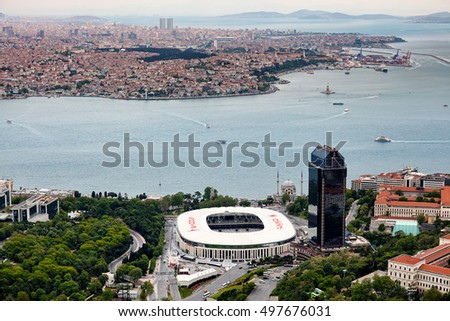 Istanbul, Turkey - May 2, 2016 : Istanbul Dolmabahce from air