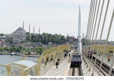 Istanbul, Turkey 03 May 2014: Istanbul subway, built on the estuary with the suspension bridge and observation deck provides services to thousands of passengers every day